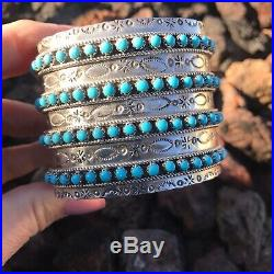 Sleeping Beauty Turquoise Stone & Sterling Silver Cuff Bracelet Signed