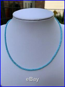 Sleeping Beauty Turquoise Super Tiny 2mm Round Beads 14K White Gold Clasp 16 US