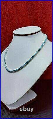 Sleeping Beauty Turquoise Tennis Necklace 16 Inch Platinum Over Sterling Silver