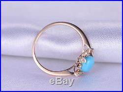 Sleeping Beauty Turquoise Vintage Style 14K Rose Gold Over Wedding Ring Size 8