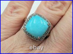 Sleeping Beauty Turquoise Wt Sapphire Frame 925 Sterling Ring Sz7 QVC Retired
