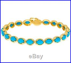 Sleeping Beauty Turquoise Yellow Plated Sterling 7 Tennis Bracelet Qvc $275.00