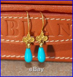 Sleeping Beauty Turquoise and 18kt Yellow Gold Drop Earrings