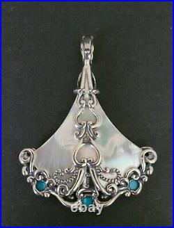 Sleeping Beauty Turquoise and White Mother of Pearl Fan Enhancer