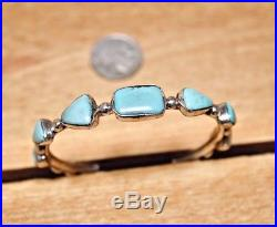 Sleeping Beauty Turquoise sterling silver bangle bracelet. Handmade in Santa Fe