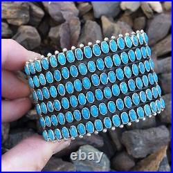 Sleeping Beauty TurquoiseStone & Sterling Silver Cuff Bracelet By Dee Nez Signed