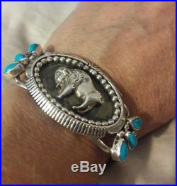 Sleeping Beauty turquoise Buffalo silver cuff bracelet Navajo Running Bear
