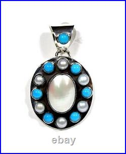 Sleeping beauty Turquoise & Mother of Pearl Sterling Silver Cluster Pendant