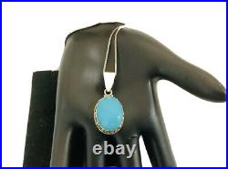 Sleeping beauty turquoise, sterling silver pendant, necklace 18