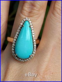 Sleeping beauty turquoise yellow gold ring pear size 7