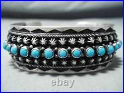 Snake Eyes Vintage Navajo Sleeping Beauty Turquoise Sterling Silver Bracelet