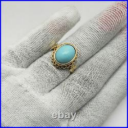 Solid 14K Yellow Gold Sleeping Beauty Turquoise Ring, Size 6.75, 4.8 grams