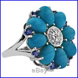Solid Gold Sleeping Beauty Turquoise, Lolite, Topaz Flower Ring GSR345