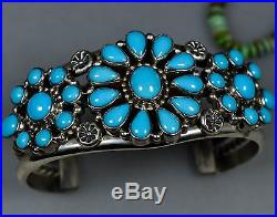 Solid RARE OLD Pawn Vintage Navajo High Grade SLEEPING BEAUTY TURQUOISE Bracelet