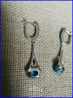 Solid Sterling 925 silver natural Sleeping Beauty Turquoise drop dangle Earrings