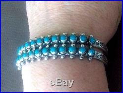 Southwest Native Sterling Silver Zuni Mark Sleeping Beauty Turquoise Bracelet