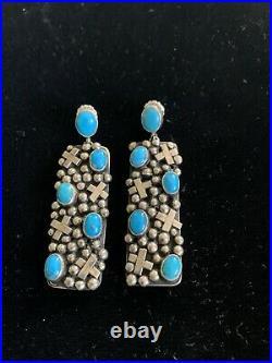 Southwestern Artist Gabby Jurado Sleeping Beauty Turquoise Cross Earrings. 925
