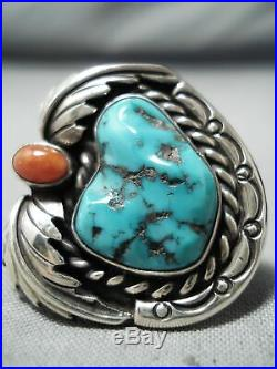 Special Vintage Navajo Sleeping Beauty Turquoise Sterling Silver Ring Old