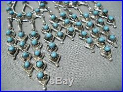 Spectacular Zuni Sleeping Beauty Turquoise Sterling Silver Dangle Earrings