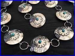 Stamped Heavy (141.5 G) Navajo 36 Sleeping Beauty & Sterling Concho Belt