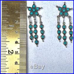 Star Sleeping Beauty Turquoise Earrings Vintage Estate Sterling Silver Snake Eye