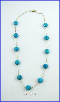Station Necklace 18K Yellow Gold Over with Sleeping Beauty Bead Turquoise, 17