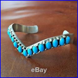 Sterling Natural Sleeping Beauty Turquoise Cuff Bracelet D Livingston Signed