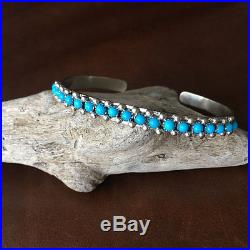 Sterling Natural Sleeping Beauty Turquoise Cuff Bracelet Signed Paul Livingston