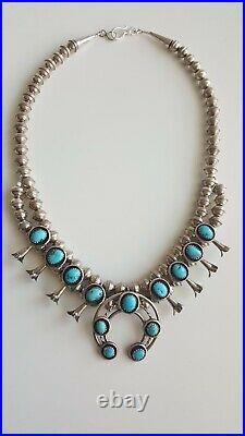 Sterling Navajo Sleeping Beauty Turquoise & Pyrite Mini Squash Blossom Necklace