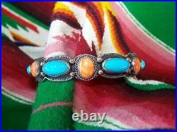 Sterling Navajo Sleeping Beauty Turquoise & Spiny Oyster Bracelet Darrell Cadman