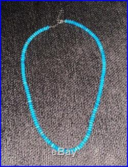 Sterling Silver 100% Natural Sleeping Beauty Turquoise Necklace