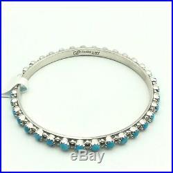 Sterling Silver And Sleeping Beauty Turquoise Bangle Bracelet Navajo Handmade