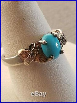 Sterling Silver Black Hills Gold Sleeping Beauty Turquoise Ring