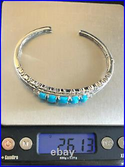 Sterling Silver Bracelet SLEEPING BEAUTY TURQUOISE Cuff Check Clemency 925 1048