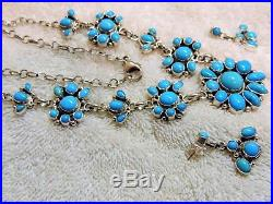 Sterling Silver Genuine Sleeping Beauty Turquoise Necklace/Earrings by Bea Tom