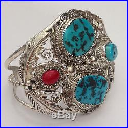 Sterling Silver Natural Sleeping Beauty Turquoise & Coral Feather Cuff Bracelet