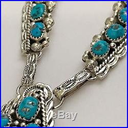 Sterling Silver Navajo Cluster Sleeping Beauty Turquoise Teardrop Chain Set