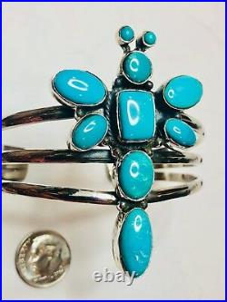 Sterling Silver Sleeping Beauty Turquoise Cuff Bracelet Dragonfly perfect