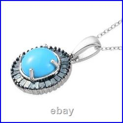 Sterling Silver Sleeping Beauty Turquoise Diamond Necklace 20 Ct 1.4 I3 Clarity