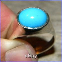 Sterling Silver Sleeping Beauty Turquoise Dome Ring Made in the USA