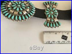 Sterling Silver / Sleeping Beauty Turquoise Needlepoint Concho Belt