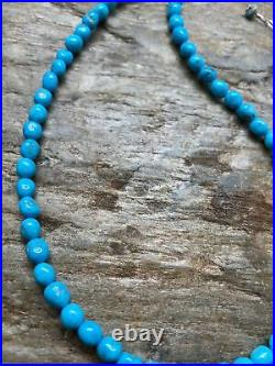 Sterling Silver Sleeping Beauty Turquoise Nuggets Navajo Pearl Bead Necklace 18