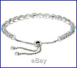 Sterling Silver Sleeping Beauty Turquoise Station Adjustable Bracelet Qvc $132