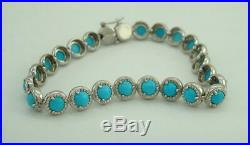 Sterling Silver Sleeping Beauty Turquoise Textured 8 Tennis Bracelet QVC S12
