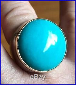 Sterling Silver and 14k Gold Sleeping Beauty Turquoise Ring Vintage Size 8
