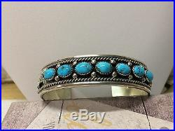 Sterling Silver and Sleeping Beauty Turquoise Navajo Cuff Bracelet
