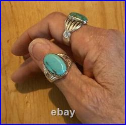 Sterling & Sleeping Beauty Turquoise Native American Old Pawn Navajo Ring Sz 11