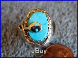 Sterling Sleeping Beauty Turquoise Snake Ring Zuni Effie Calavaza Size 10 1/4