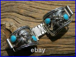 Sterling silver Navajo signed mens watch band 4 blue sleeping beauty turquoise