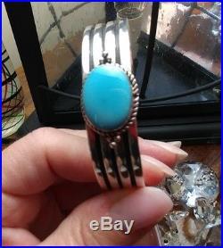Sterling silver Sleeping Beauty Turquoise cuff bracelet NWOT